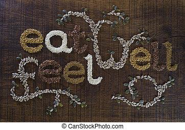 être, 'eat, puits, écrit, graines, well', locution, décoré