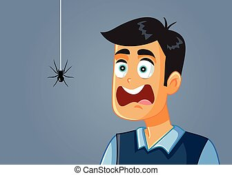 être, effrayé, effrayé, dessin animé, vecteur, araignés, homme