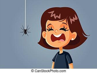 être, effrayé, effrayé, girl, vecteur, dessin animé, araignés