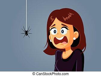 être, effrayé, effrayé, vecteur, dessin animé, femme, araignés
