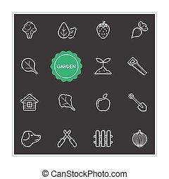 être, ensemble, prime, jardin, illustration, vecteur, utilisé, boîte, logo, qualité, ou, éléments, icône
