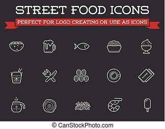 être, fastfood, ensemble, prime, icônes, boîte nourriture, ...