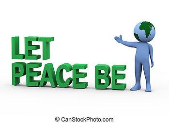 être, globe, paix, laisser, homme