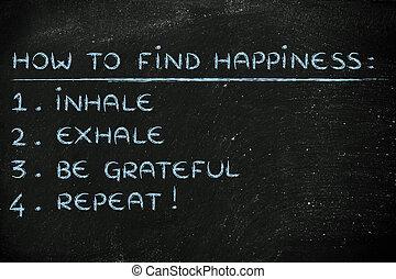 être, inhaler, exhaler, list:, comment, reconnaissant, trouver, bonheur