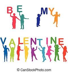 être, lettres, valentin, silhouettes, tenue, mon, enfants