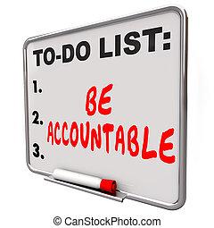 être, liste, blâme, crédit, accountable, responsabilité, ...