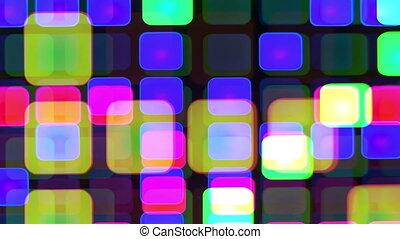 être, mené, projection, mur, modèle, résumé, squares., could, vidéo, lumière, coloré, ou