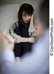 être, menacé, conjugal, victime, abus, homme