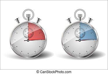 être, mesuré, temps, deux, temps, stopwatches., late., quinze, seconds:
