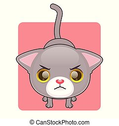 être, mignon, fâché, chat gris