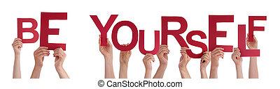 être, mot, gens, vous-même, tenant mains, rouges