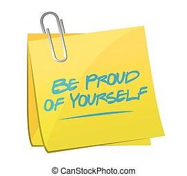 être, note, fier, illustration, vous-même