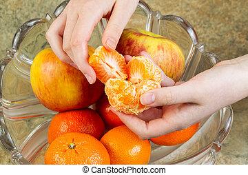 être, prêt, orange, fruit, mangé