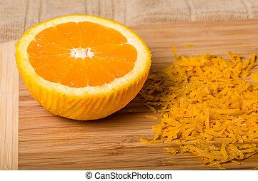 être, produire, coupure, zeste, orange