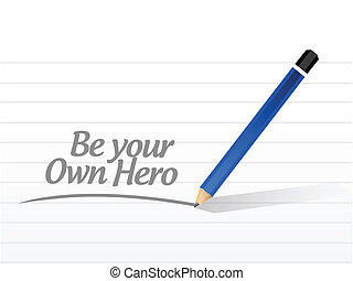 être, propre, héros, illustration, conception, message, ton