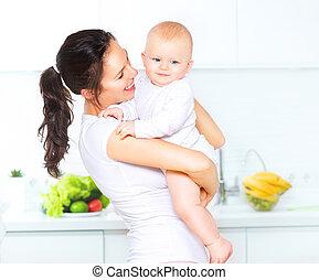 être régime, manger, sain, concept., ensemble., mère, bébé