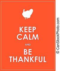 être, reconnaissant, calme, fond, garder