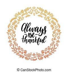être, reconnaissant, ou, invitation, day., lettrage, card., ...