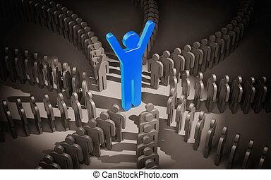 être, sien, business, mai, coaching., -, pasteur, illustration, metaphor., flock., direction, ou, 3d