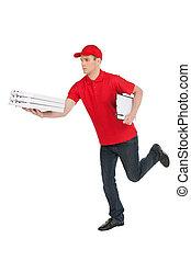 être, sien, jeune, dépêcher, courant, isolé, gai, quoique, main, time., blanc, deliveryman, pile, pizza
