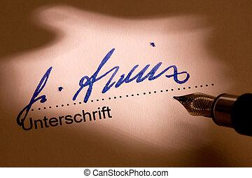 être, signé, volonté, stylo, fontaine, lettre