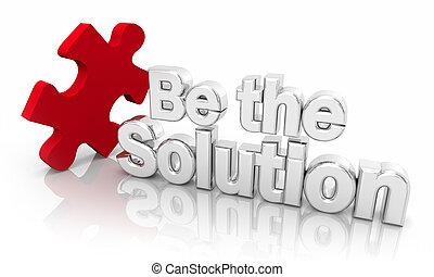 être, solver, puzzle, solution, illustration, mots, problème, morceau, 3d