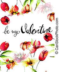 être, titre, valentin, gabarit, floral, mon, carte