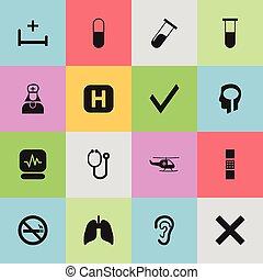 être, ui, ensemble, boîte, orgue, mobile, icons., respiratoire, pouls, editable, utilisé, inclut, symboles, marque, 16, infographic, santé, toile, tel, more., design.