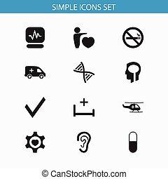 être, ui, ensemble, mobile, icons., intelligence, pouls, editable, utilisé, inclut, symboles, boîte, génome, infographic, santé, toile, tel, more., 12, design.