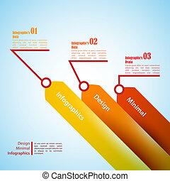 être, usage, utilisé, trois, infographics., boîte, présentation, flèches