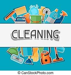 être, utilisé, ménage, boîte, média, autocollant, icons., flayers, bannières, publicité, fond, social, booklets, image, article, nettoyage