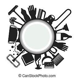 être, utilisé, ménage, boîte, média, image, icons., flayers, bannières, publicité, fond, social, booklets, article, nettoyage