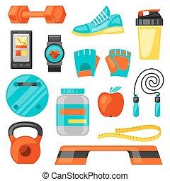 être, utilisé, style de vie, icônes, sain, set., booklets, sports, bannières, boîte, fitness, flayers, image, publicité