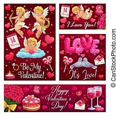 être, valentin, ballons, mon, fleurs, aimez coeurs