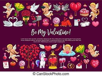 être, valentin, cupidon, amour, mon, cœurs, anges