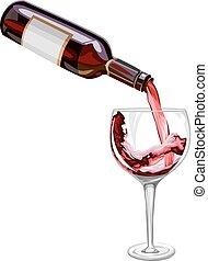 être, verre., vin, versé, vecteur