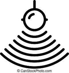 ícone, água, esboço, sounder, eco, estilo
