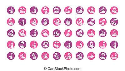 ícone, ícones, silueta, jogo, estilo, bebê, mãe