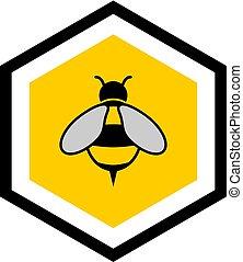 ícone, abelha, agradável