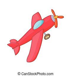 ícone, aeronave, estilo, vermelho, caricatura