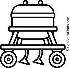 ícone, agrícola, estilo, esboço, equipamento