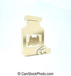 ícone, animal., render, garrafa, experiência., gato, medicina, 3d, pills., branca, ilustração, prescrição, ouro, isolado, pílulas, recipiente