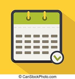 ícone, apartamento, calendário, modernos, estilo