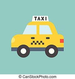 ícone, apartamento, desenho, táxi, transporte