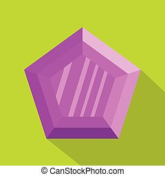 ícone, apartamento, diamante, style., lilás