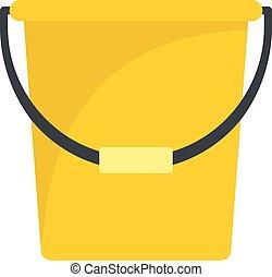 ícone, apartamento, estilo, balde, amarela