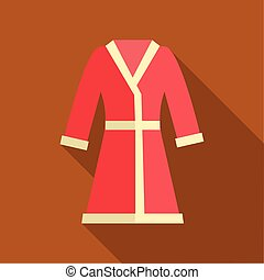 ícone, apartamento, estilo, bathrobe, vermelho