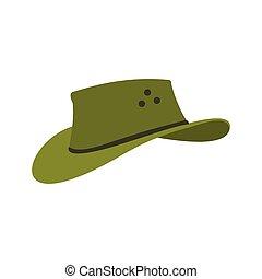 ícone, apartamento, estilo, chapéu, boiadeiro