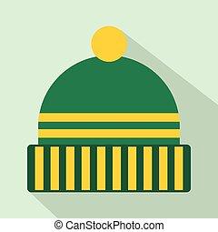 ícone, apartamento, estilo, chapéu, inverno