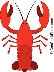ícone, apartamento, estilo, lagostim, vermelho